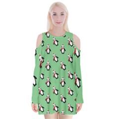 Christmas Penguin Green Velvet Long Sleeve Shoulder Cutout Dress