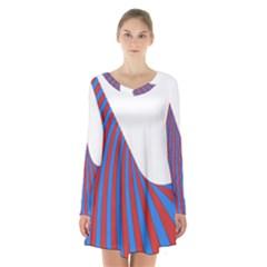 Curve Red Blue Long Sleeve Velvet V Neck Dress
