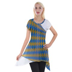Curve Yellow Blue Short Sleeve Side Drop Tunic