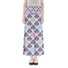 Damask Small Flower Purple Green Blue Black Floral Maxi Skirts