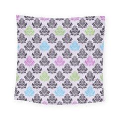 Damask Small Flower Purple Green Blue Black Floral Square Tapestry (small)