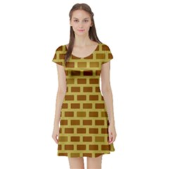 Tessellated Rectangles Lined Up As Bricks Short Sleeve Skater Dress