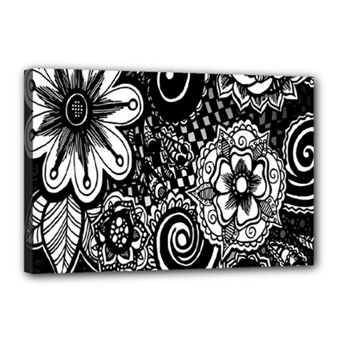 Black White Flower Canvas 18  X 12