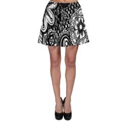 Black White Flower Skater Skirt
