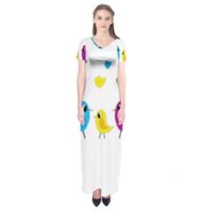 Bird family Short Sleeve Maxi Dress