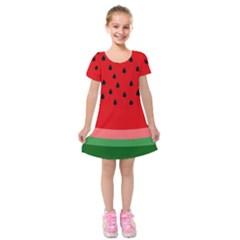 Watermelon  Kids  Short Sleeve Velvet Dress