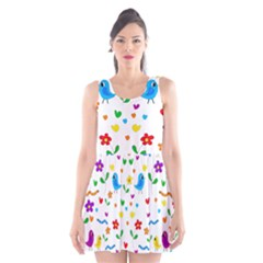Cute birds and flowers pattern Scoop Neck Skater Dress