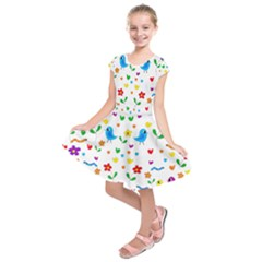 Cute birds and flowers pattern Kids  Short Sleeve Dress