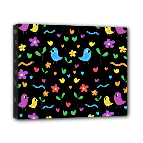 Cute birds and flowers pattern - black Canvas 10  x 8