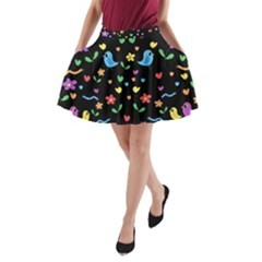 Cute birds and flowers pattern - black A-Line Pocket Skirt