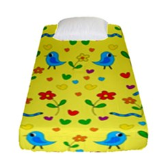 Yellow Cute Birds And Flowers Pattern Fitted Sheet (single Size)