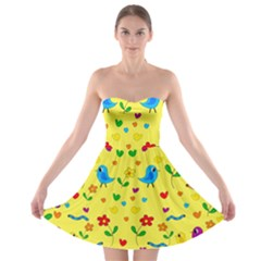 Yellow cute birds and flowers pattern Strapless Bra Top Dress