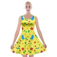 Yellow Cute Birds And Flowers Pattern Velvet Skater Dress