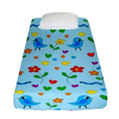 Blue Cute Birds And Flowers  Fitted Sheet (single Size)