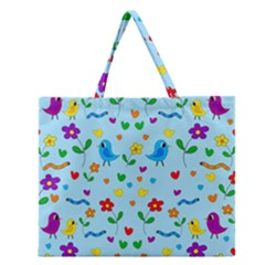 Blue cute birds and flowers  Zipper Large Tote Bag