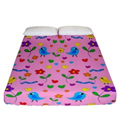 Pink Cute Birds And Flowers Pattern Fitted Sheet (california King Size)