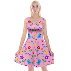 Pink Cute Birds And Flowers Pattern Reversible Velvet Sleeveless Dress
