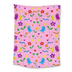 Pink Cute Birds And Flowers Pattern Medium Tapestry