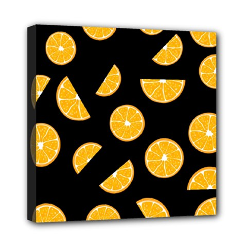 Oranges Pattern   Black Mini Canvas 8  X 8