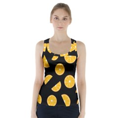 Oranges pattern - black Racer Back Sports Top