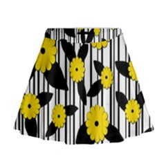 Yellow floral pattern Mini Flare Skirt