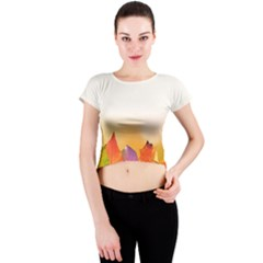 Autumn Leaves Colorful Fall Foliage Crew Neck Crop Top