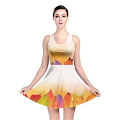 Autumn Leaves Colorful Fall Foliage Reversible Skater Dress