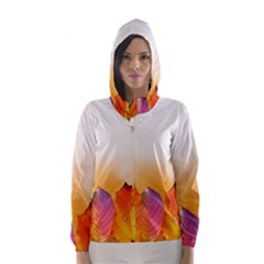 Autumn Leaves Colorful Fall Foliage Hooded Wind Breaker (Women)