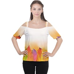 Autumn Leaves Colorful Fall Foliage Women s Cutout Shoulder Tee