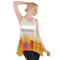 Autumn Leaves Colorful Fall Foliage Side Drop Tank Tunic