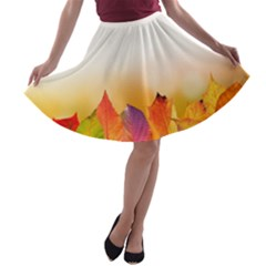 Autumn Leaves Colorful Fall Foliage A Line Skater Skirt