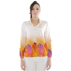 Autumn Leaves Colorful Fall Foliage Wind Breaker (women)