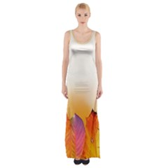 Autumn Leaves Colorful Fall Foliage Maxi Thigh Split Dress