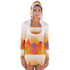 Autumn Leaves Colorful Fall Foliage Women s Long Sleeve Hooded T Shirt