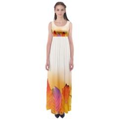 Autumn Leaves Colorful Fall Foliage Empire Waist Maxi Dress