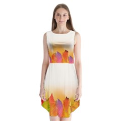 Autumn Leaves Colorful Fall Foliage Sleeveless Chiffon Dress