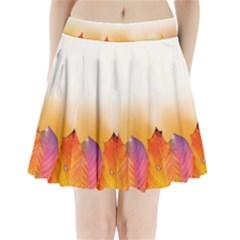 Autumn Leaves Colorful Fall Foliage Pleated Mini Skirt