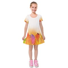 Autumn Leaves Colorful Fall Foliage Kids  Short Sleeve Velvet Dress