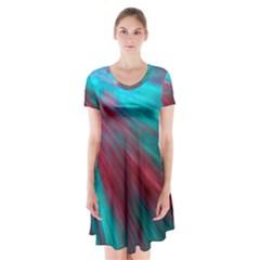 Background Texture Pattern Design Short Sleeve V Neck Flare Dress