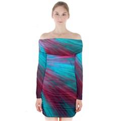 Background Texture Pattern Design Long Sleeve Off Shoulder Dress