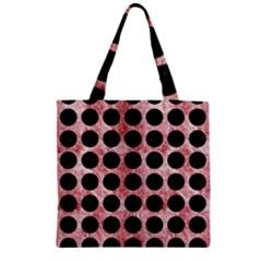 Circles1 Black Marble & Red & White Marble (r) Zipper Grocery Tote Bag