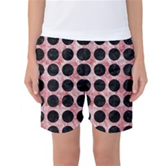 Circles1 Black Marble & Red & White Marble (r) Women s Basketball Shorts
