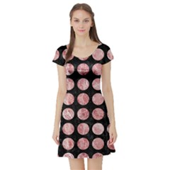 Circles1 Black Marble & Red & White Marble Short Sleeve Skater Dress