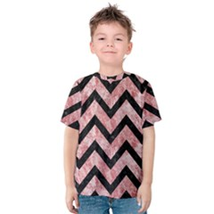 Chevron9 Black Marble & Red & White Marble (r) Kids  Cotton Tee