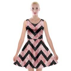 Chevron9 Black Marble & Red & White Marble (r) Velvet Skater Dress