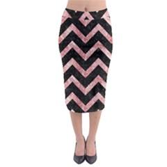 Chevron9 Black Marble & Red & White Marble Midi Pencil Skirt