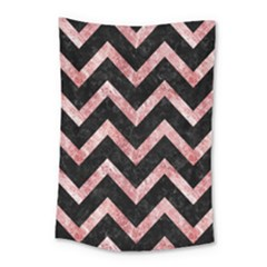 Chevron9 Black Marble & Red & White Marble Small Tapestry