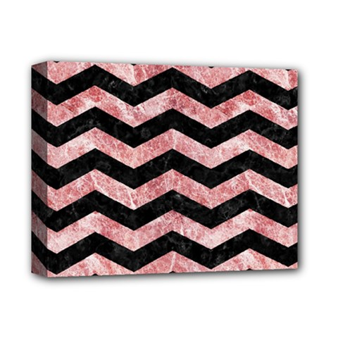 Chevron3 Black Marble & Red & White Marble Deluxe Canvas 14  X 11  (stretched)