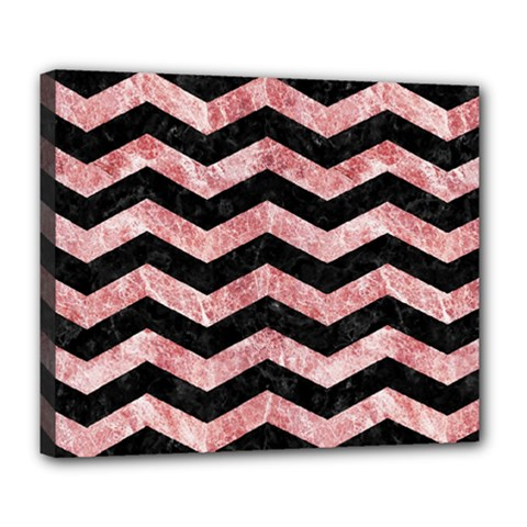 Chevron3 Black Marble & Red & White Marble Deluxe Canvas 24  X 20  (stretched)