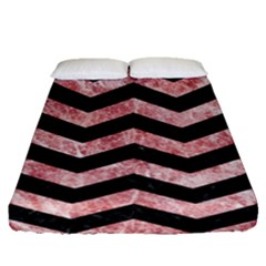 Chevron3 Black Marble & Red & White Marble Fitted Sheet (queen Size)